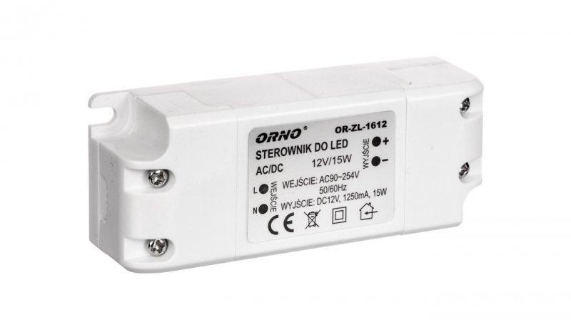 Zasilacz LED 12V DC 15W 1,25A IP20 OR-ZL-1612