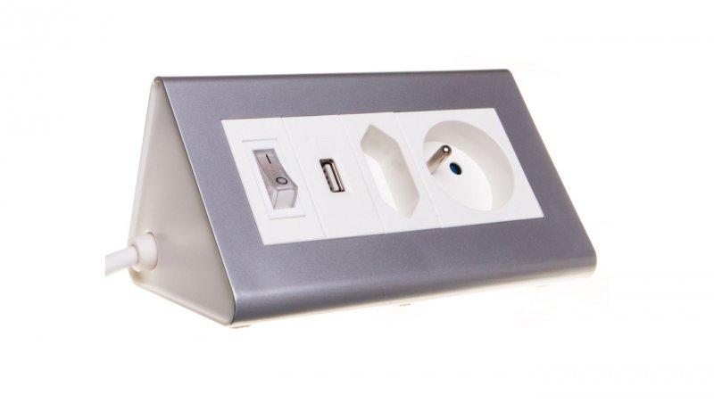 Przedłużacz biurkowy z wyłącznikiem 1x2,5A + 1x16A + USB 5V DC/2,1A OR-AE-1328