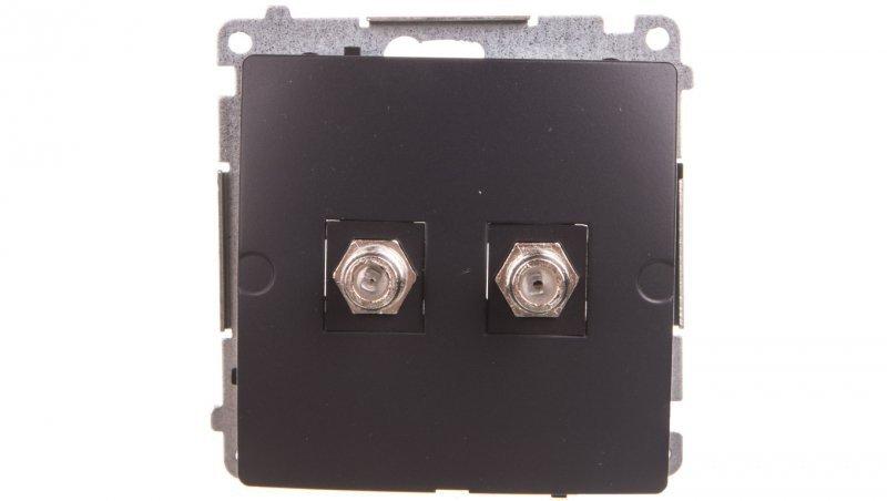 Simon Basic Gniazdo antenowe podwójne typu F grafit matowy BMAF2.01/28