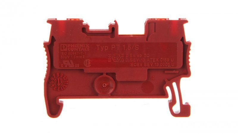 Złączka szynowa przelotowa 2-przewodowa 0,14-1,5mm2 czerwona Ex PT 1,5/S RD 3208127 /50szt./