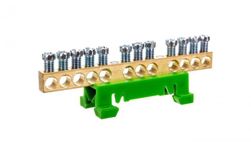 Zacisk przyłączeniowy na TS35, ochronny PE, 12-polowy, 12x16mm2 870S/12 zielony 89813005