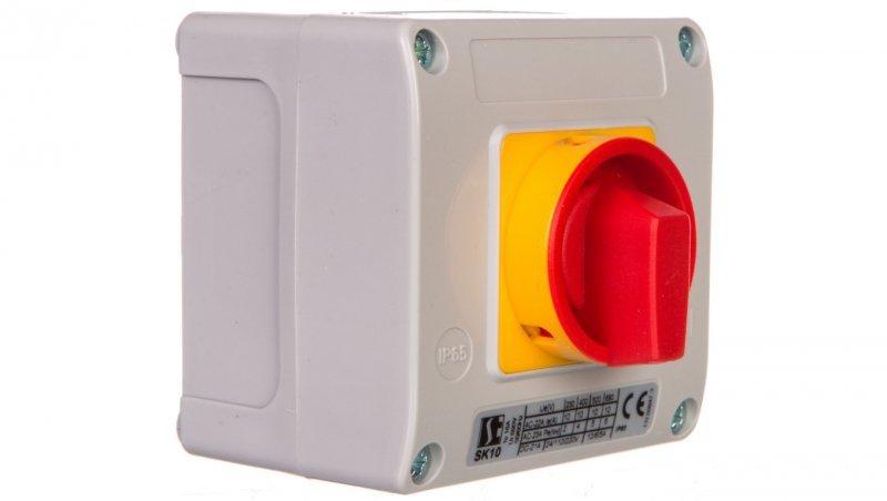 Łącznik krzywkowy 0-1 7P 10A w obudowie OB11 z czołem zamykanym żółto/czerwonym SK10-4.8240OB11ZC