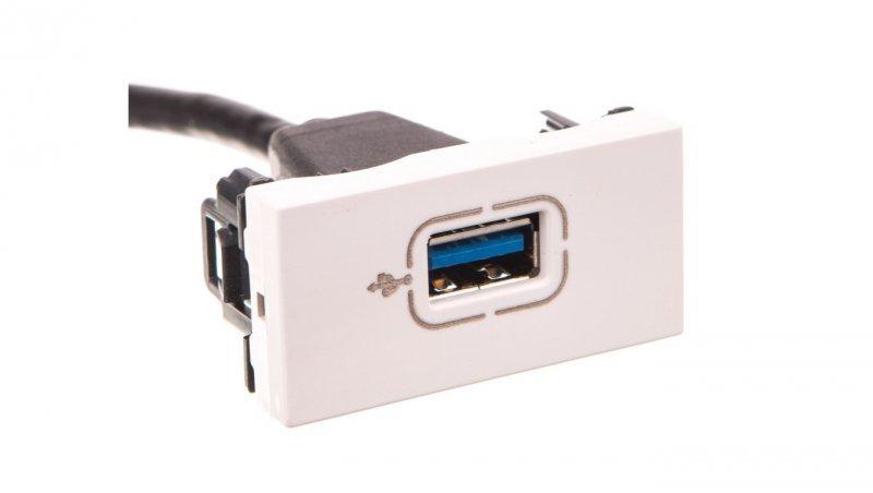 MOSAIC Gniazdo USB 3.0 z przewodem białe 078746