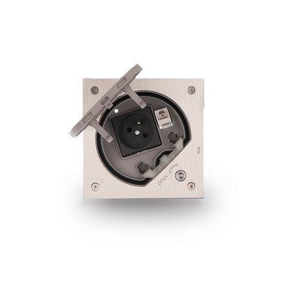 Wkład puszki podłogowej KSE IP66 na klucz imbusowy z gniazdem z uziemieniem i RJ45 kat.5e stal nierdzewna IK:IK07
