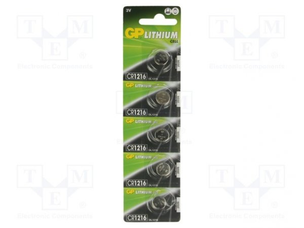 Bateria: litowa; 3V; CR1216,pastylkowa; Il.bat: 5; Ø12,5x1,6mm