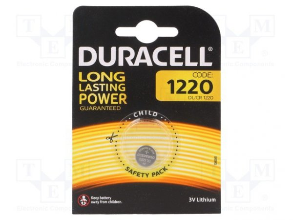 Bateria: litowa; 3V; CR1220,pastylkowa; Il.bat: 1; Ø12,5x2mm