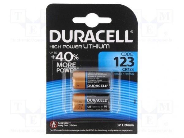 Bateria: litowa; 3V; CR123A,R123; Il.bat: 2; Ø17x34mm; nieładowalna