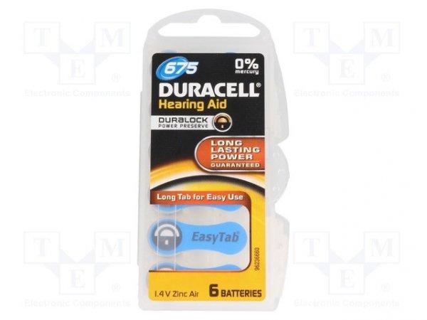 Bateria: cynkowo-powietrzna (ZnO2); 1,4V; Il.bat: 6; Ø11,6x5,35mm