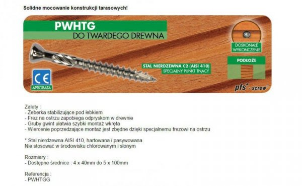WKRĘT DO DREWNA TWARDEGO TROPIC C2 4.5*50MM T20