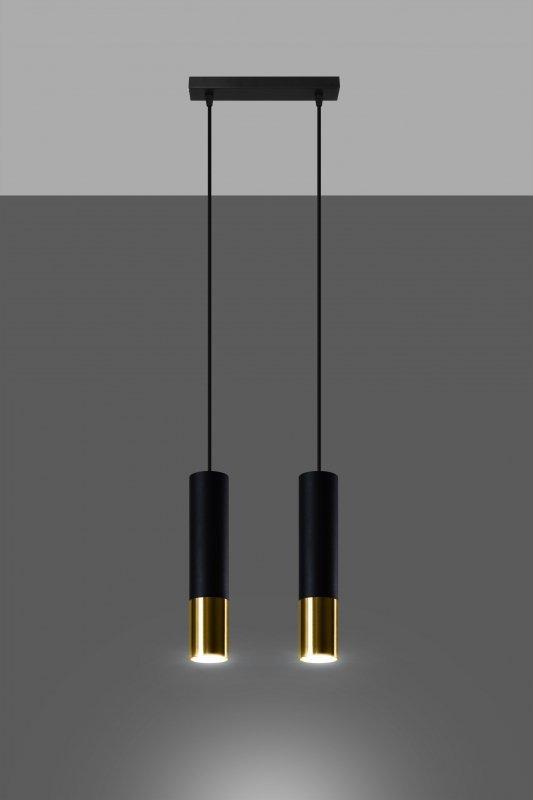 Lampa wisząca LOOPEZ 2 czarny/złoty
