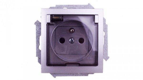 Simon 15 Gniazdo bryzgoszczelne z/u IP44 z klapką transparentną aluminium metalizowane 1591940-026A
