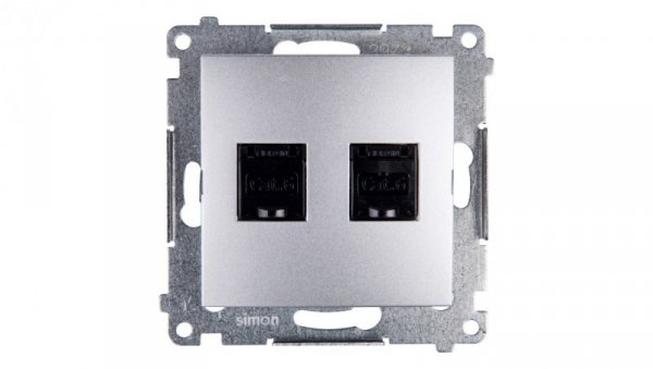 Simon 54 Gniazdo komputerowe podwójne 2xRJ45 kat.6 z przesłoną srebrny mat D62.01/43