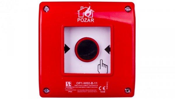 Przycisk ppoż. podtynkowy 1Z 1R czerwony OP1-W02-B11