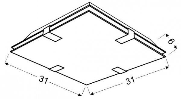 VAGANTE PLAFON 31X31 1X9W LED KWADRAT