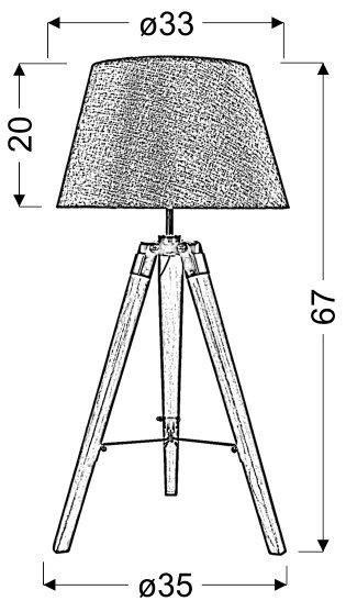 LUGANO LAMPKA GABINETOWA 1X60W E27 SZARY + ABAŻUR O TYM SAMYM INDEKSIE