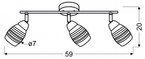 JUBILAT LISTWA 3X10W E14 LED CHROM
