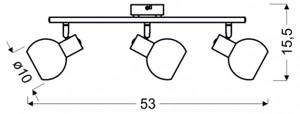 MAURO LISTWA 3X4W E14 LED RGB SATYNA NIKIEL Z PILOTEM