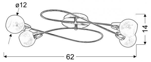 AVILA PLAFON 4X40W E14 SATYNA