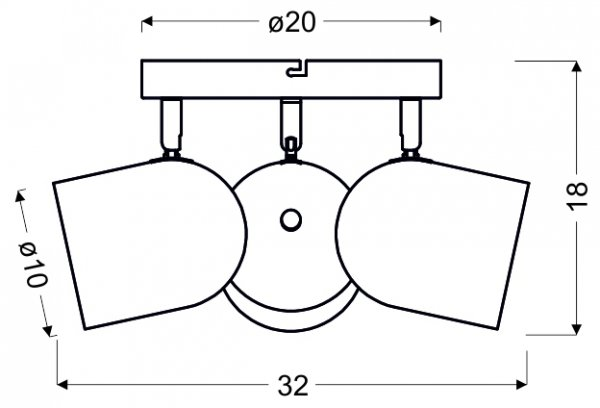 AZURO PLAFON 3X40W E27 SZARY MAT