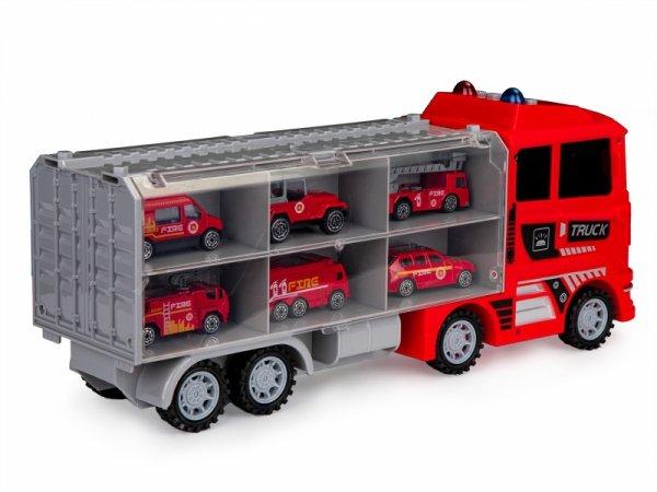 Ciężarówka laweta zestaw 6 aut resoraki straż