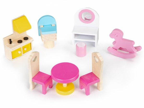 Drewniany domek dla lalek z oświetleniem LED + zestaw mebelków