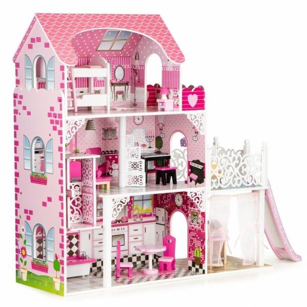 Drewniany domek dla lalek z windą xxl zjeżdżalnia ECOTOYS