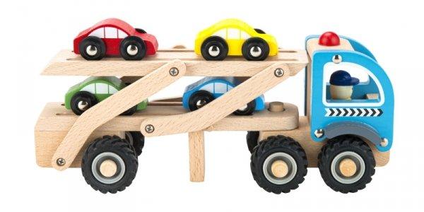 Drewniana zabawka ciężarówka laweta 4 resorki auta