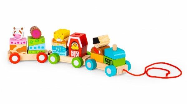 Drewniana zabawka kolejka pociąg klocki drewniane