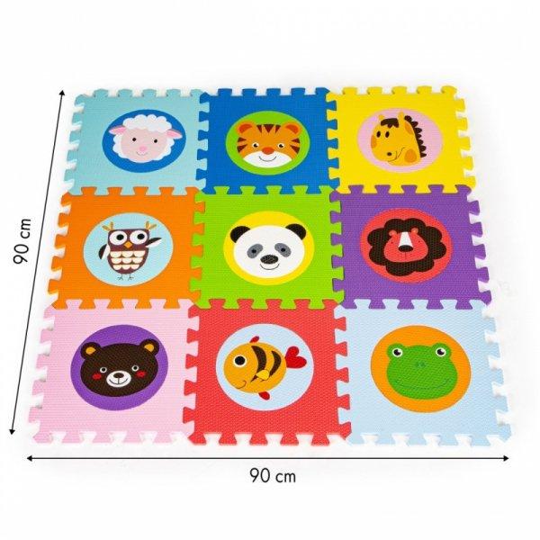 Mata piankowa EVA dla dzieci zwierzęta 90x90cm  9 el.