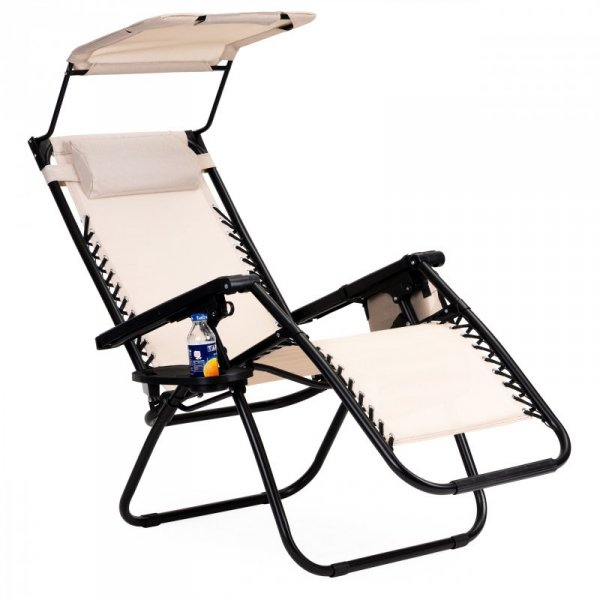 Leżak fotel ogrodowy składany daszek zero gravity