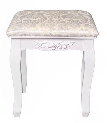 Toaletka kosmetyczna z lustrem i stołkiem ozdobne uchwyty