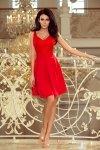 Sukienka z koronkowym dekoltem i kontrafałdami - Czerwona - numoco 208-2
