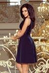 Sukienka z koronkowym dekoltem i kontrafałdami - Granatowa - numoco 208-1