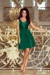 Sukienka z koronkowym dekoltem i kontrafałdami - Zieleń Butelkowa - numoco 208-4