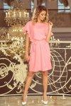 Sukienka z wiązaniem i falbankami na rękawkach Rose - Pastelowy Róż - numoco 229-1