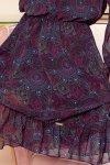 BAKARI zwiewna szyfonowa sukienka z dekoltem - różowo-niebieskie mandale- 8