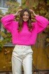 Sweter Chunky Knit F1135 - Różowy - StreetStyle.net.pl - 5