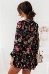 Sukienka Salma - kwiaty na czarnym tle - 2
