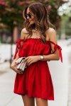 Sukienka ANDI z wiązaniami na ramionach - Czerwona_3