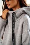 Bawełniana sukienka/bluza z falbaną LN119 - Jasnoszary - 10