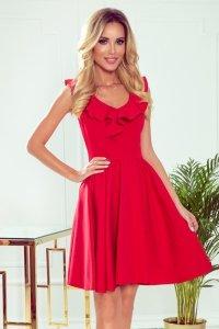 Sukienka z falbankami na dekolcie Pola- Czerwona - StreetStyle 307-1