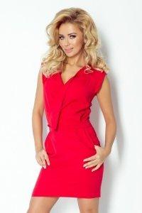 Sukienka z zakładanym dekoltem - Czerwona - numoco 94-2