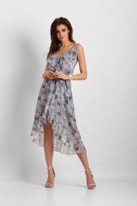 Szyfonowa asymetryczna sukienka Chantal - Niebieska - StreetStyle 648