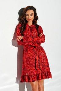 Sukienka z falbanką i wiązaniem przy szyi wzór - StreetStyle LG509