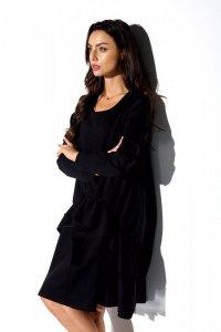 Prosta sukienka z długim rękawem i marszczeniem -StreetStyle LN114