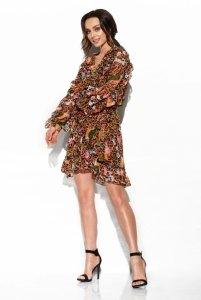 Szyfonowa sukienka z jedwabiem i falbankami wzór - StreetStyle  LG517