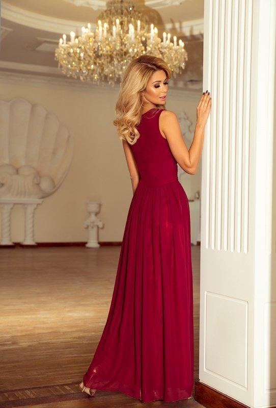 Długa szyfonowa sukienka z rozcięciem Maxi - Bordowa - numoco 166-3
