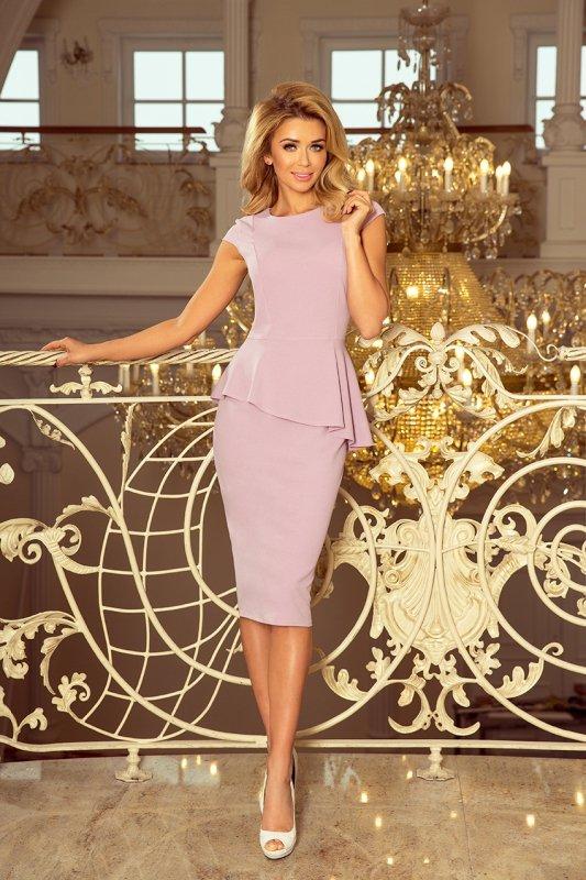 Elegancka sukienka MIDI z baskinką - Lila - numoco 192-2