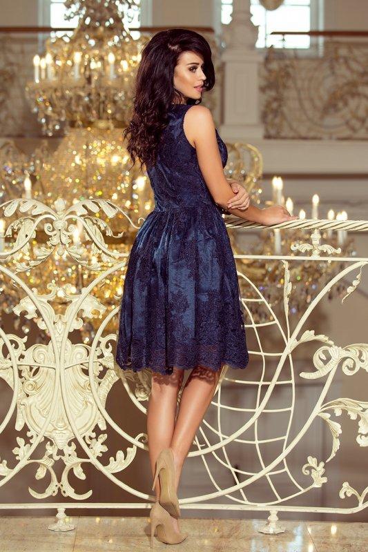Ekskluzywna rozkloszowana sukienka - Granatowy Haft - numoco 173-3