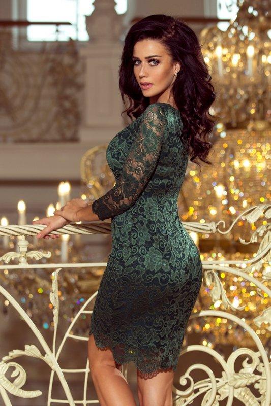 Sukienka koronkowa z ozdobnymi wykończeniami - Zielona  Jasna - numoco 180-3